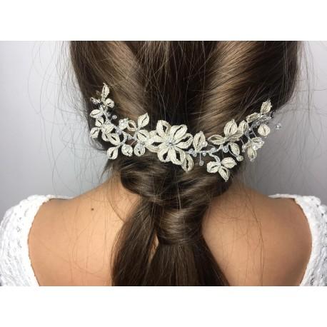Ślubna wpinka do włosów perłowa z kryształkami SWAROVSKIEGO