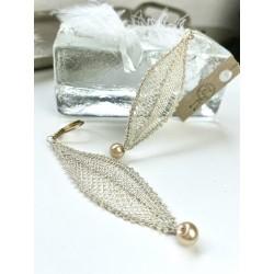 Kolczyki listki kremowe złoto z perełką